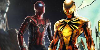 Gdy Peter w samolocie Happy'ego szuka dla siebie nowej zbroi, dosłownie przez chwilę przegląda hologram ze strojem, który wygląda identycznie jak kostium Iron Spider z komiksowej serii Civil War (widzicie go na obrazku – to inny Iron Spider niż ten, którego Parker używa na początku filmu).