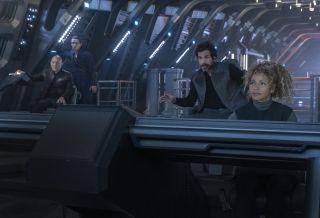 "Od lewej: Picard, Elnor, Christobal ""Chris"" Rios oraz Raffi Muskier. / Fot. CBS"