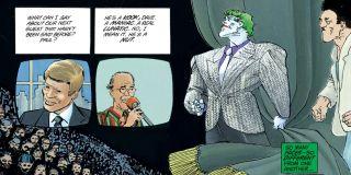 """W komiksie """"Powrót Mrocznego Rycerza"""" Franka Millera Joker również pojawił się w jednym z programów telewizyjnych. Na początku pocałował jedną z obecnych w studiu kobiet, zostawiając na jej wargach truciznę. Program zakończył się zbiorową masakrą widzów."""