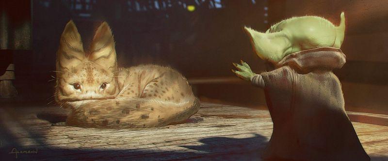 The Mandalorian - Baby Yoda i kot z Lothal. Szkice z 4. odcinka