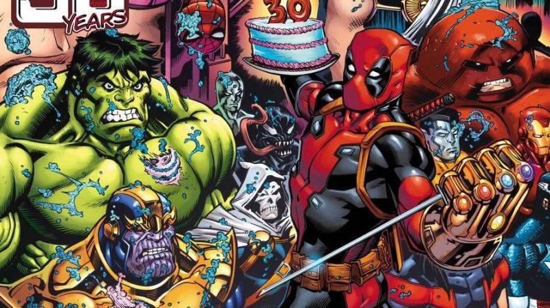 30. urodziny Deadpoola uświetnią Wolverine, Thanos, piesek, nowy złoczyńca i... trumna