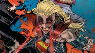Komiksowa Supergirl jako pełna furii antagonistka. Twarz jak u Jokera
