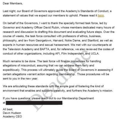 List od Akademii - standardy postępowania