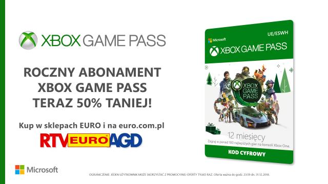 Xbox Game Pass - roczny abonament za pół ceny