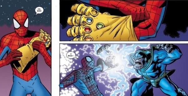 """Spider-Man (komiks """"Avengers: Infinity Gauntlet"""") – Pajączek po założeniu artefaktu zażyczył sobie stworzenie takiej rzeczywistości, w której Thanos nigdy nie miał Rękawicy na sobie."""
