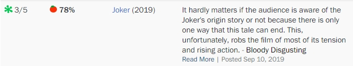 Joe Lipsett - ocena dla Jokera