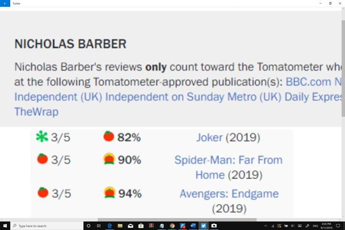 Nicholas Barber - oceny na RT