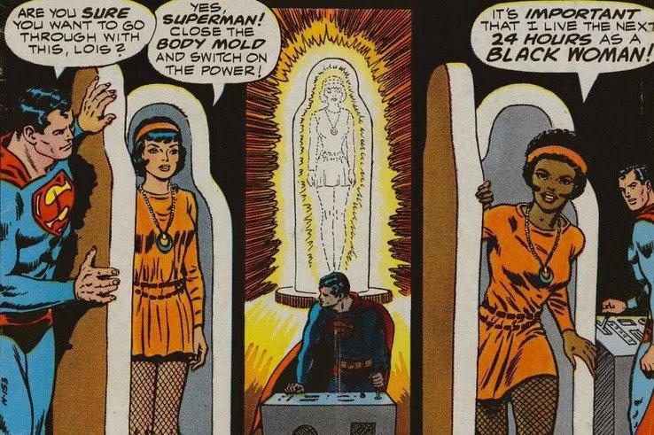 Najbardziej kontrowersyjne momenty w komiksach Marvela i DC: Lois Lane z ciekawości zmienia kolor skóry na czarny (Superman's Girlfriend, Lois Lane #106)
