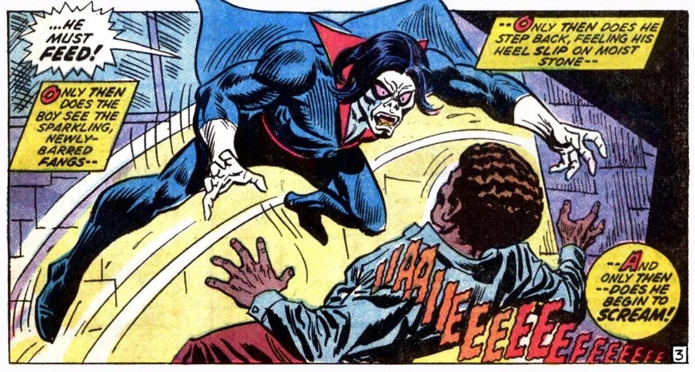 """Michael Morbius zadebiutował w komiksach w październiku 1971 roku w zeszycie """"The Amazing Spider-Man #101"""". Co ciekawe, wprowadzenie tej postaci jest związane ze zmianami, jakie w lutym tego samego roku wprowadzono w konserwatywnym Kodeksie Komiksowym. Zadecydowano więc, że autorzy historii obrazkowych ponownie mogą wykorzystywać takie postacie jak wampiry."""