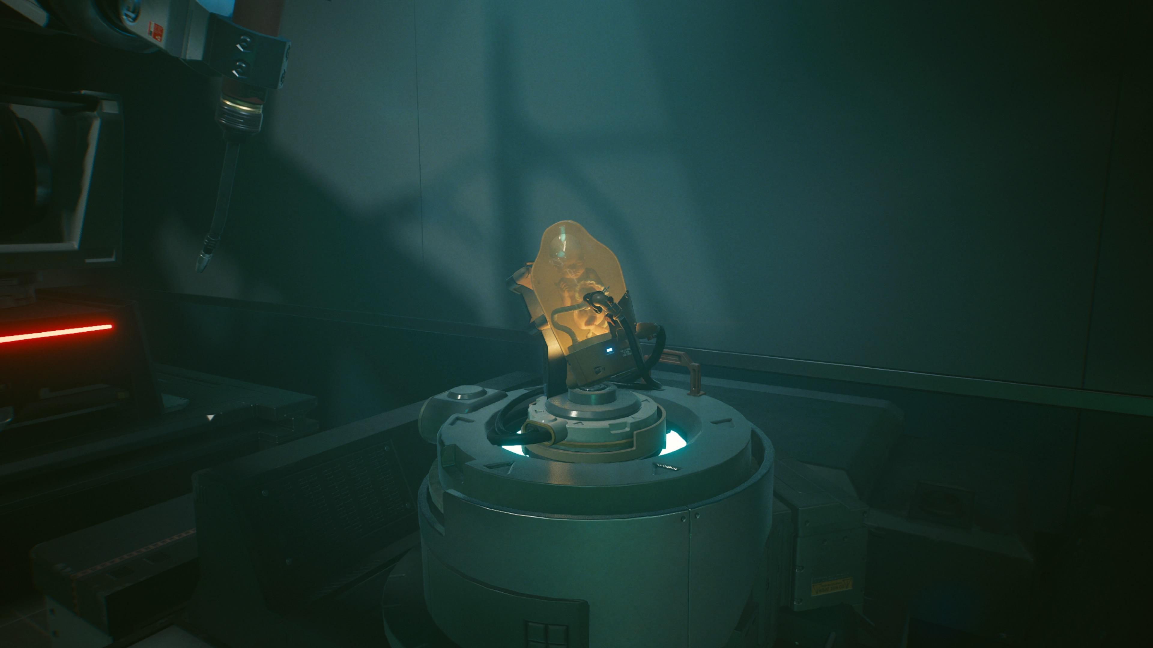 W świecie Cyberpunk 2077 możemy natrafić na BB -  kapsułę z dzieckiem z gry Death Stranding.